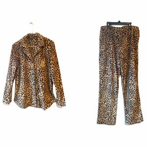 New Ralph Lawren Animal Print Fleece Pajama Set